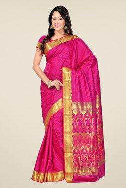 Janasya Pink Floral Print Art Silk Zari Pallu Emboss Saree