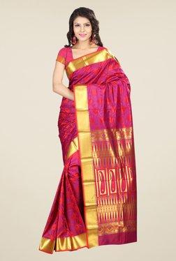 Janasya Pink Printed Art Silk Emboss Saree
