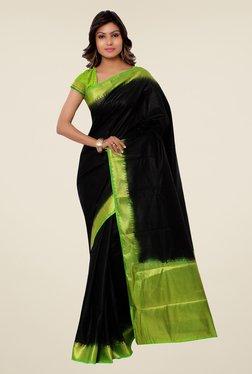 Janasya Black & Green Solid Kanjivaram Raw Silk Saree