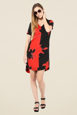 The Gud Look Red & Black Floral Print Dress
