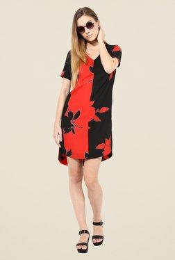 The Gud Look Red & Black Floral Print Dress