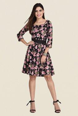 The Gud Look Black Floral Print Dress