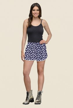 The Gud Look Navy Floral Print Shorts