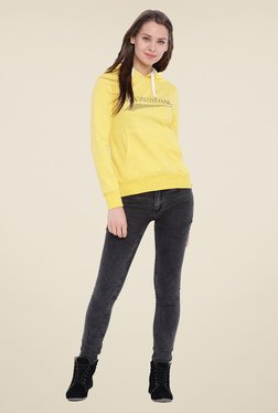 Campus Sutra Yellow Embellished Hoodie