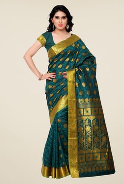 Janasya Teal Floral Print Kanchipuram Art Silk Saree