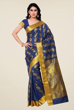 Janasya Dark Blue Paisley Print Kanchipuram Silk Saree