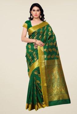 Janasya Green Printed Kanchipuram Art Silk Saree