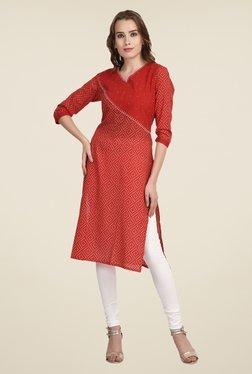 Indi Dori Red Printed Jaipuri Kurta