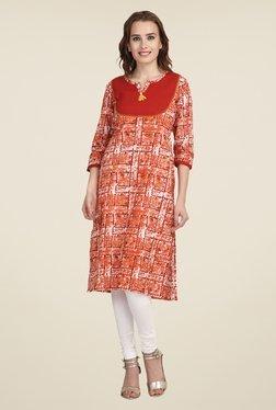 Indi Dori Orange Printed Jaipuri Kurta