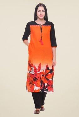 Shree Orange Floral Print Kurta
