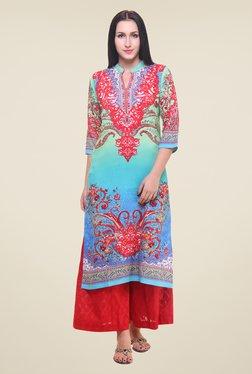 Shree Blue & Red Printed Kurta