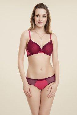 Amante Pink & Maroon Lace Bikini Panty