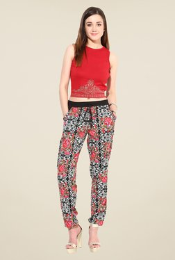 The Gud Look Multicolor Floral Print Trousers