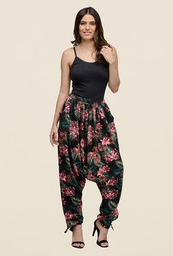 The Gud Look Black Floral Print Slouch Pants