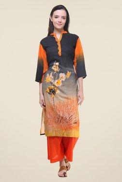 Shree Grey & Orange Printed Kurta