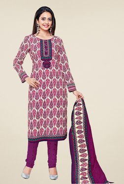 Salwar Studio Purple Cotton Printed Dress Material
