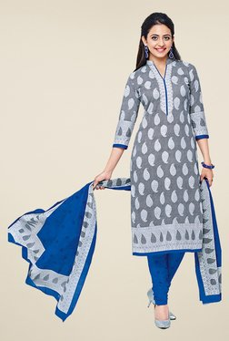 Salwar Studio Grey & Blue Cotton Printed Dress Material