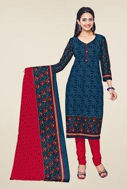 Salwar Studio Navy & Red Cotton Printed Dress Material