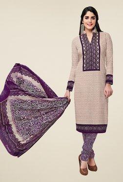 Salwar Studio Beige & Purple Cotton Printed Dress Material