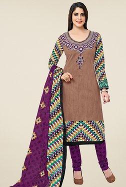 Salwar Studio Brown & Purple Cotton Printed Dress Material