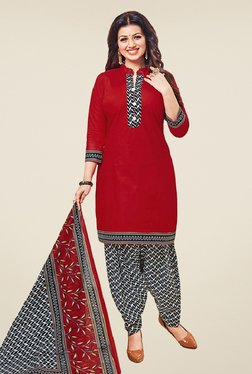 Salwar Studio Maroon & Black Cotton Unstitched Patiyala Suit
