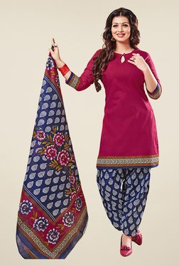 Salwar Studio Magenta & Blue Cotton Unstitched Patiyala Suit
