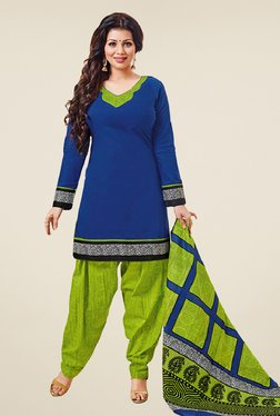 Salwar Studio Blue & Green Cotton Unstitched Patiyala Suit