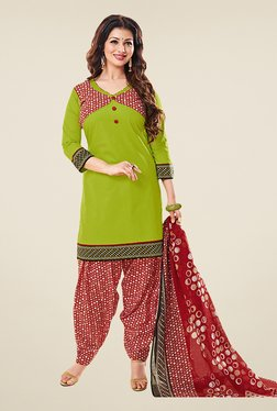 Salwar Studio Green & Red Cotton Unstitched Patiyala Suit