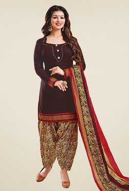 Salwar Studio Brown & Red Cotton Unstitched Patiyala Suit