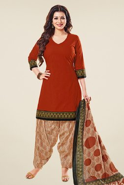 Salwar Studio Rust & Beige Cotton Unstitched Patiyala Suit