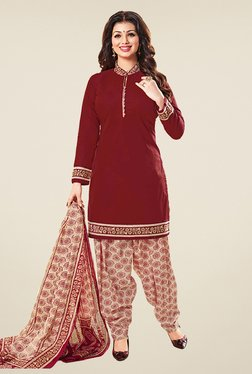 Salwar Studio Maroon & Beige Cotton Unstitched Patiyala Suit