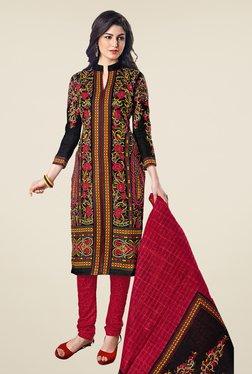 Salwar Studio Black & Red Cotton Dobby Dress Material
