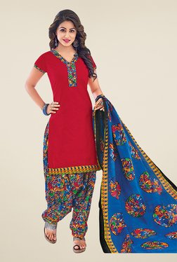 Salwar Studio Red & Blue Cotton Unstitched Patiyala Suit