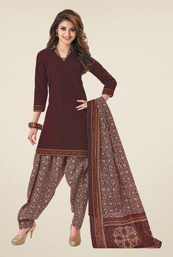 Salwar Studio Brown & Beige Cotton Unstitched Patiyala Suit