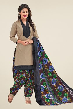 Salwar Studio Grey & Brown Cotton Unstitched Patiyala Suit