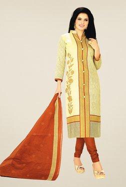 Salwar Studio Beige & Brown Cotton Printed Dress Material