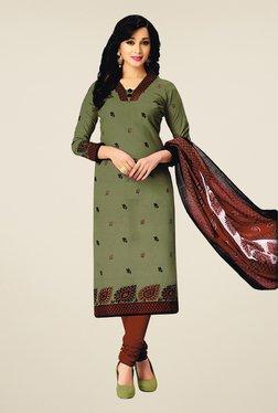 Salwar Studio Olive & Brown Cotton Printed Dress Material