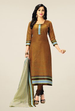 Salwar Studio Orange & Brown Cotton Printed Dress Material