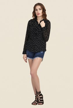 The Gud Look Black Printed Ruffle Top
