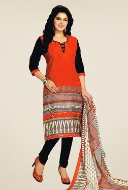 Salwar Studio Red & Black Cotton Printed Dress Material