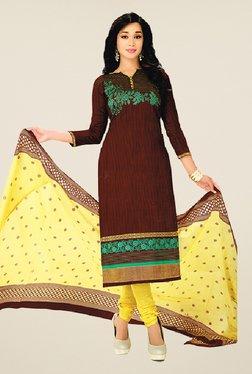 Salwar Studio Brown & Yellow Cotton Printed Dress Material