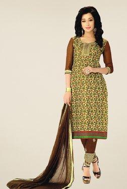 Salwar Studio Yellow & Brown Cotton Printed Dress Material
