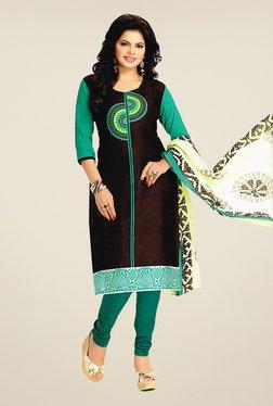 Salwar Studio Brown & Teal Cotton Printed Dress Material