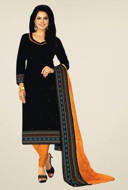 Salwar Studio Black & Mustard Cotton Printed Dress Material - Mp000000000667571
