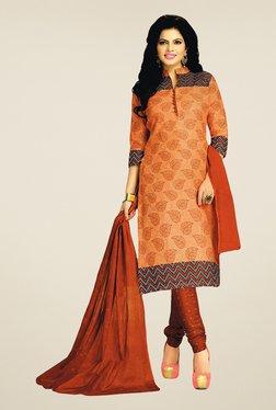 Salwar Studio Peach & Brown Cotton Printed Dress Material