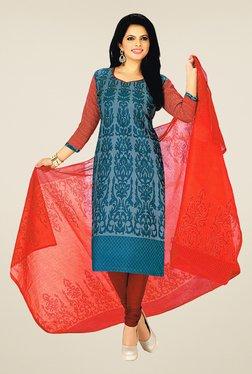 Salwar Studio Blue & Red Cotton Printed Dress Material