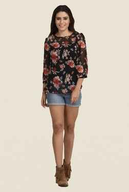 The Gud Look Black Floral Print Top