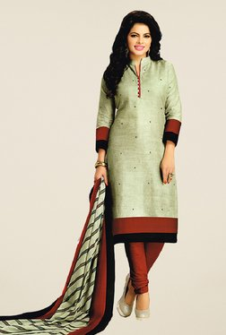 Salwar Studio Grey & Brown Cotton Printed Dress Material