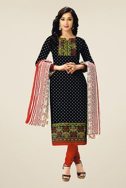 Salwar Studio Black & Red Cotton Printed Dress Material
