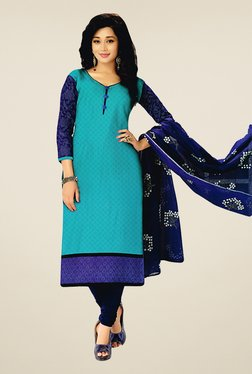 Salwar Studio Sky Blue & Navy Cotton Printed Dress Material